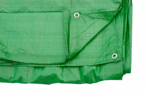 3.5M X 7M 80 Gsm - Green Tarpaulin Cover Ground Sheet With Eyelets