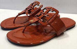 Tory Burch Square Miller Orange Patent Leather Sandals Slides Sz 9M