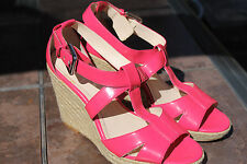 Calvin Klein SHOES SANDALS HIGH HEELS Hot Pink Fuchsia Platform Wedges Size 8.5