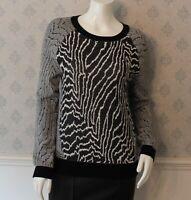 Black and White Reiss Long Sleeve Lyla Monochrome Sweater