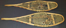 "VINTAGE - CHILD - POMPOMS - LEATHER /BABICHE - SNOWSHOES - 26"" LONG - ORIGINAL"