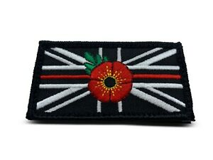 UNION JACK RED Flower Patch Official VELCRO® patch Thin RED line