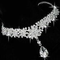 Bridal Princess Crystal Flower Hair Tiara Crown Rhinestone Wedding Prom Headband