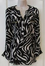 Rafaella Sharkbite Roll Tab Sleeve Tunic  Top ZEBRA Women's Sz S-M NWT MSRP$65