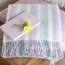 PURE NEW WOOL THROW Blanket Rug MULTI PASTEL HERRINGBONE STRIPE Pink Lilac Grey