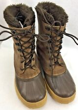 WOMENS SOREL EDDIE BAUER INSULATED LEATHER UPPER LINED WINTER BOOTS SIZE 7 BROWN