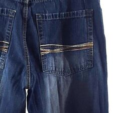 Southpole Mens Jeans Size 34x31 Wide Straight Leg Embroidered Pockets Sanded