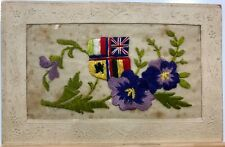 WW1 Silk postcard Allied Flags & flowers unposted