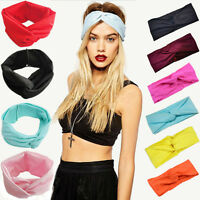 Women Cotton Turban Twist Knot Head Wrap Headband Twisted Knotted Hair Ban Fy