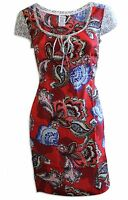 New Ladies Monsoon Red Pink Blue Floral Summer Tunic Dress Size 10 - 16