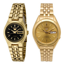 Seiko 5 Classic Gold+Black Dial Couple's Gold Plated Stainless Steel Watch Set