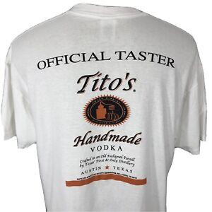 Tito's Handmade Vodka Official Taster White Vintage T Shirt Men's XL Liquor Tee