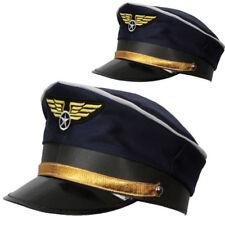 Deluxe Blue Airline Pilot Hat Cap Peak Unisex Captain Fancy Dress Accessory