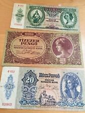 HUNGARY BANK NOTES 10, 20 AND 10,000 PENGO BILL MAGYAR BUDAPEST
