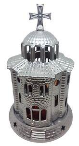 Orthodox Church Design Aluminum Vigil Candle 12x18cm Made in Grecce