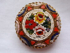 VINTAGE ANTIQUE ITALIAN MICRO MOSAIC FLOWER GOLD PLATED BROOCH