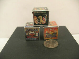 Dolls House Set 3 Biscuit Tins 1/12th Scale