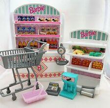 Vintage 90s Mattel Barbie Supermarket Shop Shelves Trolley Till Basket Scales