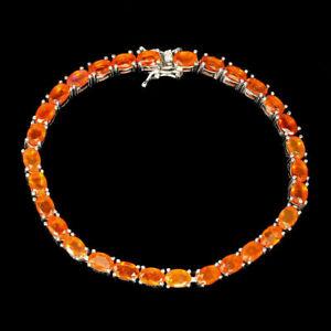 Bracelet Orange Fire Opal Genuine Natural Gems Solid Sterling Silver 7 1/2 Inch