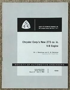 SAE CHRYSLER CORP.'S NEW 273 cu in. V-8 ENGINE Technical Brochure 1964 #826A USA