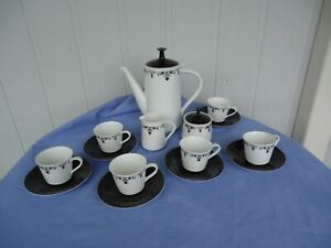 vintage retro rc noritake japan black  & white coffee  set  pot milk jug sugar