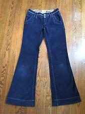 Miss Me Blue Boho Style Corduroy Flare Leg Jeans Pants Sz S (M#1220)