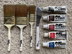 Bob Ross Paintbrushes, Painting Knife & Paints Bundle - Used