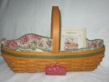 Longaberger 2001 May Series Peony Basket Combo Liner & Protector Ceramic Tag