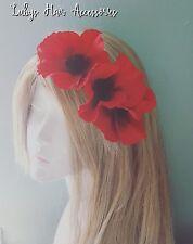 Red & Black Poppy Floral Hair Facinator 1950s Party Wedding  HeadBand