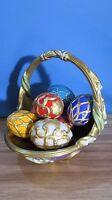 Vintage House of Faberge Franklin Mint Spring Egg Basket 9 Eggs Mint Condition