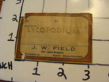vintage paper: J. W. FIELD prescription Druggists HAND WRITTEN--LYCOPODIUM