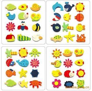 12 Fridge Magnet Wooden Cartoon Animals Novelty Magnets Colourful Children Kids