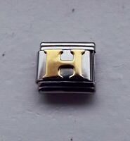 Raised gold metal letter H 9mm stainless steel italian charm bracelet link new