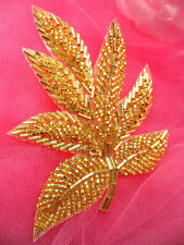 """FS140 Fall Leaf Applique Gold Beaded Sewing Motif Patch 4"""""""