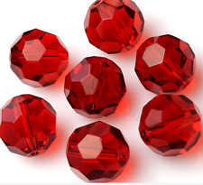 30pcs 8mm red 32 surface transparent edge bead Crystal beads scattered beads