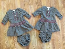 Lot of 2 Janie And Jack Snowflake Panda Gingham Dresses 0-3 Mos Twins NWOT