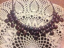 LiZ Claiborne Marcasite Clusters Dark Purple  Statement Necklace Signed