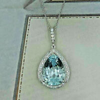 3Ct Pear Blue Diamond Halo Pendant Valintine Gift In Solid 14k White Gold