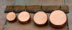 4 petites casseroles en cuivres de dinette ( jouet ancien )