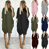 Womens Solid Long Sleeve Midi Dress Ladies Pockets Casual Baggy T-Shirt Tops UK