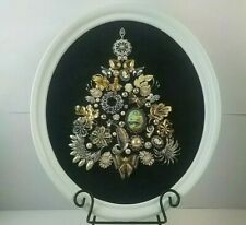 Framed Jewelry Christmas Tree Art Vintage & Modern Brooches Christmas Decor