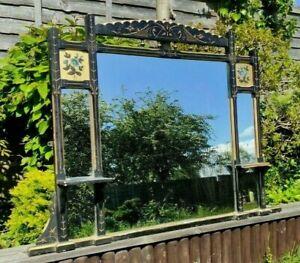 Antique Aesthetic Movement Overmantel Wall Mirror Ebonised Gilt Wood Frame 1880s