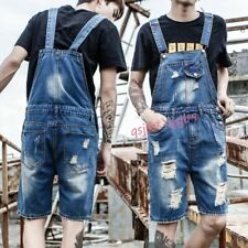 Hot Classic Mens Denim Ripped Overalls Bib Pants Jeans Shorts Slim Fit Jumpsuits