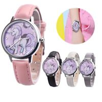 Unicorn Watch Girls Kids Watches Children's Gift Leather Cartoon Band Wristwatch