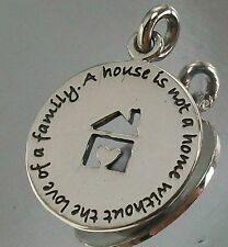 925 STERLING SILVER Family Love House CHARM PENDANT oxidised 15.5mm Diameter