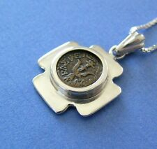 Widow's mite coin set in Jerusalem Cross silver pendant with chain