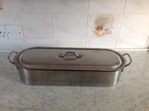 "FISH KETTLE SALMON PAN LARGE  20"" WITH LIFTING TRIVET STAINLESS STEEL GOOD COND"
