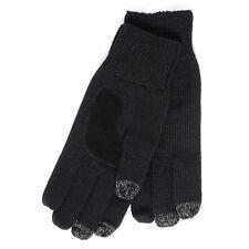 SmarTouch Mens Chunky Knit 3 Finger Touchscreen Gloves Black
