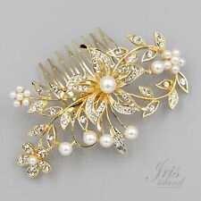 Bridal Hair Comb Pearl Crystal Headpiece Hair Clip Wedding Accessory 09597 Gold