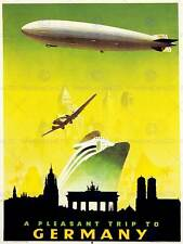 La Germania da Viaggio Trasporto Barca DIRIGIBILE ZEPPELIN piano Berlino posterprint bb7518b
